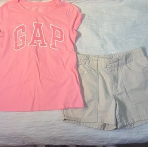 NWOT 12 GIRLS GAP SHORTS & T SHIRT BUNDLE LOT